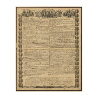 First Draft of the Declaration of Independence Wood Print