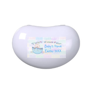 First Easter Baby Boy Jelly Bean shape Candy Tin