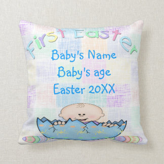 First Easter Baby Boy Throw Pillow