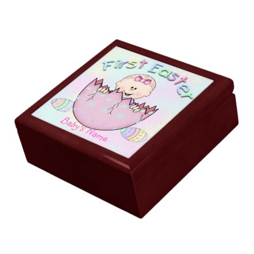 Baby Girl Gift Box : First easter baby girl gift box trinket zazzle