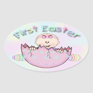 First Easter Baby Girl Oval Stickers