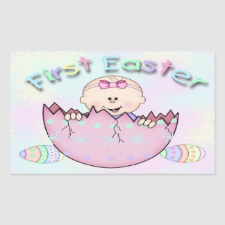 First Easter Baby Girl Rectangle Sticker