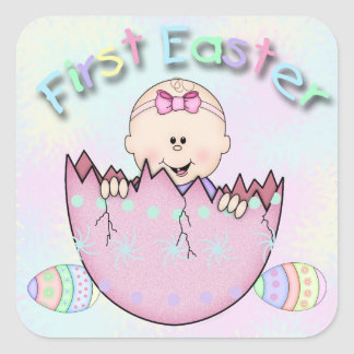 First Easter Baby Girl Square Stickers