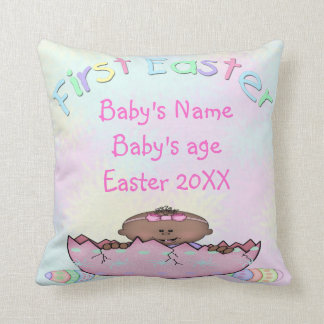First Easter Ethnic Baby Girl Throw Pillow