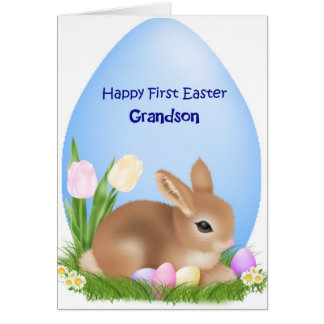 First Easter Grandson Greeting Card