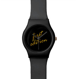 First Edition Quote Faux Gold Foil Metallic Baby Wristwatch