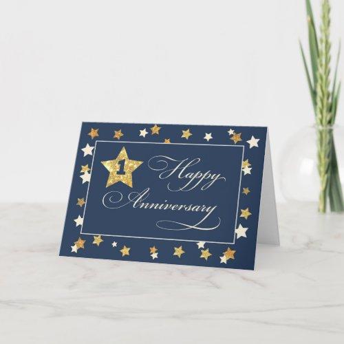 First Employee Anniversary Navy Gold Effect Stars Card