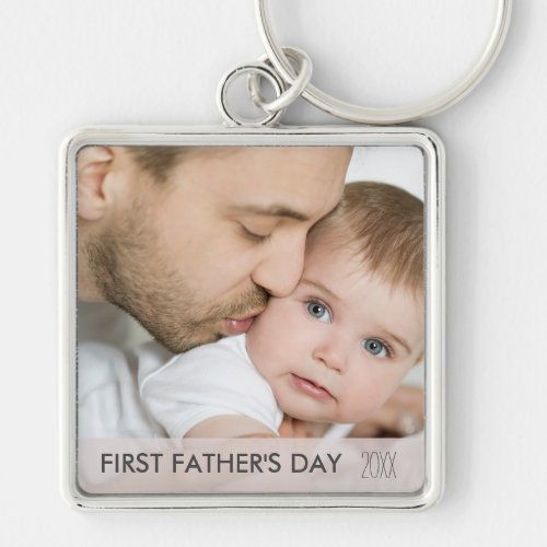 First Fathers Day 2020 _ Custom Dad and Baby Photo Keychain