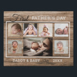 """First Father's Day 7 Photo Collage Rustic Wood Faux Canvas Print<br><div class=""""desc"""">A simple and memorable first  father's day gift for the new dad personalized with 8 of his favorite baby and daddy photos.</div>"""