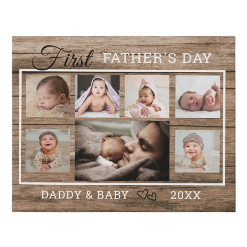 First Fathers Day 7 Photo Collage Rustic Wood Faux Canvas Print