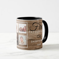 First Father's Day 7 Photo Collage Rustic Wood Mug