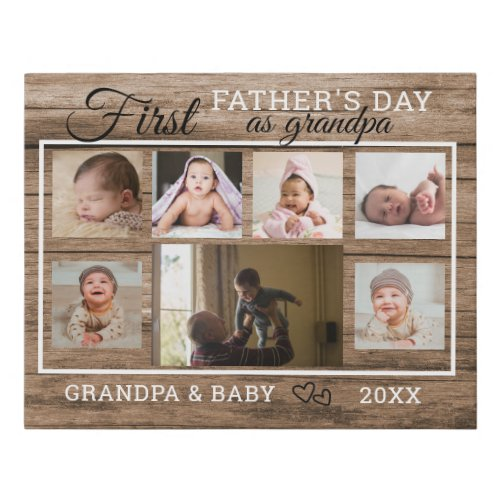 First Fathers Day As Grandpa 7 Photo Collage Wood Faux Canvas Print