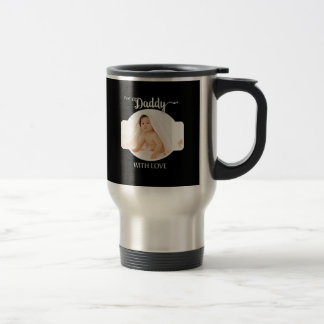 First Father's Day Black Custom Photo / Year Travel Mug