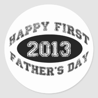 First Father's Day Classic Round Sticker