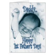 First Father's Day from Son - Stretching Baby Boy Card