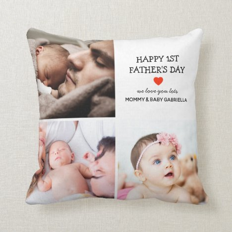 First Father's Day Gift | Cute Photo Collage  Throw Pillow