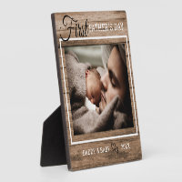 First Father's Day Photo Rustic Wood Plaque