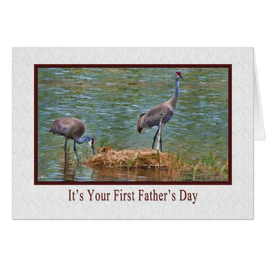 First Father's Day, Sandhill Crane Family Card