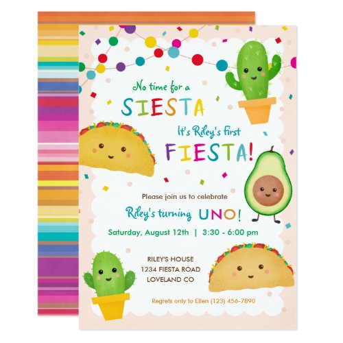 First fiesta birthday _ no time for siesta invitation