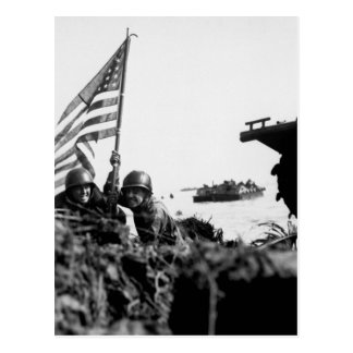 First flag on Guam on boat hook mast_War Image Postcard
