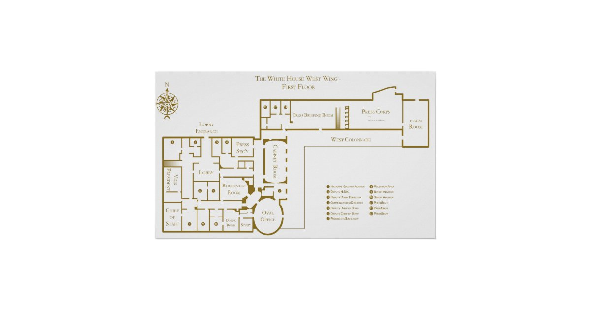 First Floor West Wing The White House Floor Plan Poster Zazzle