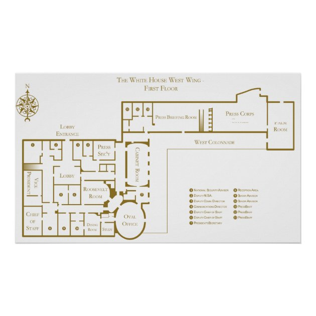 First Floor West Wing The White House Floor Plan Poster | Zazzle.com