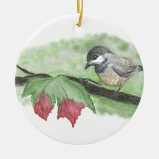 First frost for Chick-a-Dee Ceramic Ornament