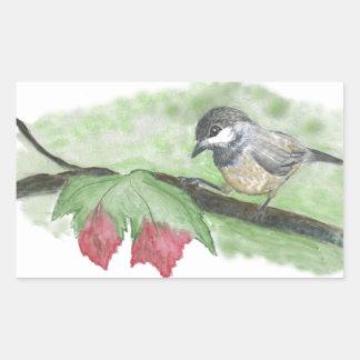 First frost for Chick-a-Dee Rectangular Sticker