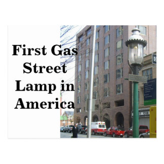First Gas Street Lamp in America Post Card