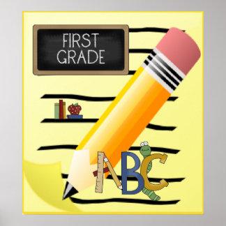 First Grade ABC Apple Books School Poster