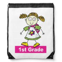 First Grade Girl Drawstring Bag