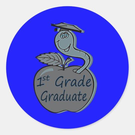 first.grade.graduate.apple classic round sticker