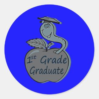 first.grade.graduate.apple pegatina redonda