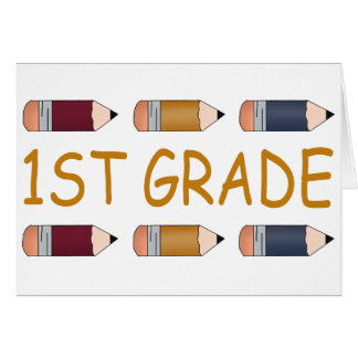 First Grade School Pencil Card