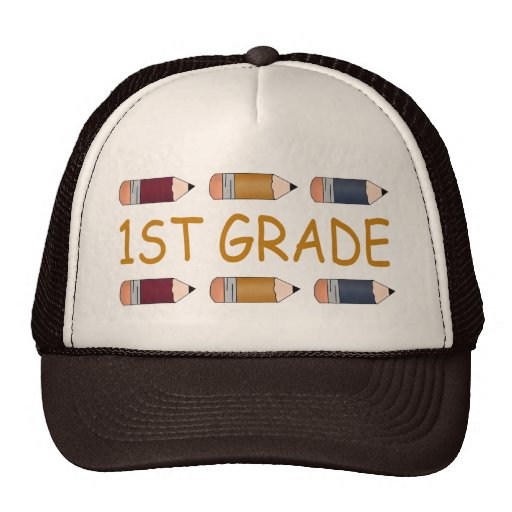 First Grade School Pencil Trucker Hat
