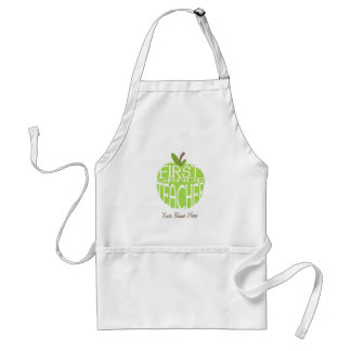 First Grade Teacher Apron - Green Apple