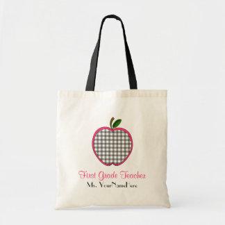 First Grade Teacher Bag - Gray Gingham Apple