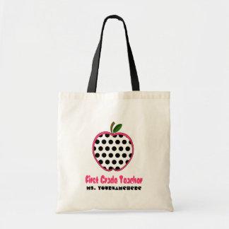 First Grade Teacher Bag - Polka Dot Apple