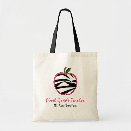 First Grade Teacher Bag - Zebra Print Apple