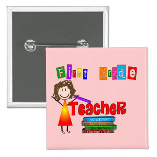 First Grade Teacher Gifts 2 Inch Square Button