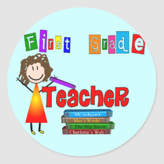 First Grade Teacher Gifts Classic Round Sticker