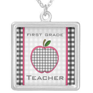 First Grade Teacher Gingham Apple Necklace