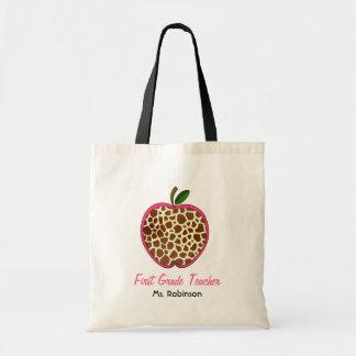 First Grade Teacher - Giraffe Print Apple Tote Bags