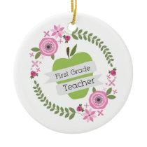First Grade Teacher Green Apple Floral Wreath Ceramic Ornament