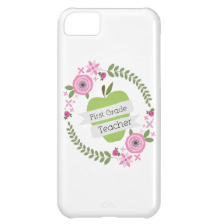 First Grade Teacher Green Apple Floral Wreath Cover For iPhone 5C
