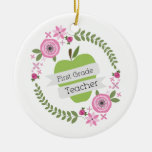 First Grade Teacher Green Apple Floral Wreath Double-Sided Ceramic Round Christmas Ornament
