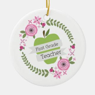First Grade Teacher Green Apple Floral Wreath Christmas Ornaments