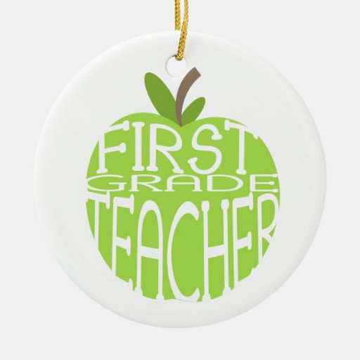 First Grade Teacher Green Apple Ornament