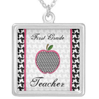 First Grade Teacher Houndstooth Apple Necklace