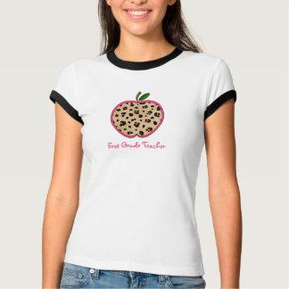 First Grade Teacher Leopard Print Apple T-Shirt